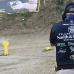Photo of Jerry Miculek winning a bout of the Revolver Shoot Off