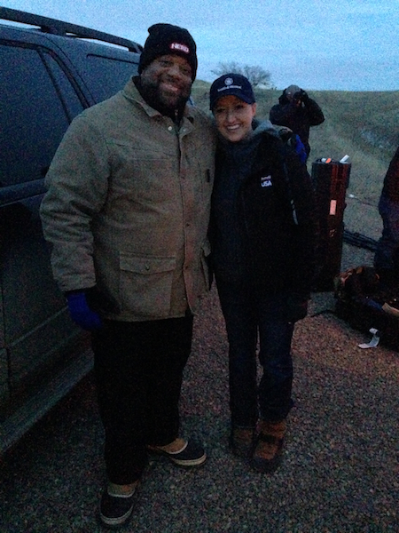Mark Christopher Lawrence & Julie Golob filming for Amazing America