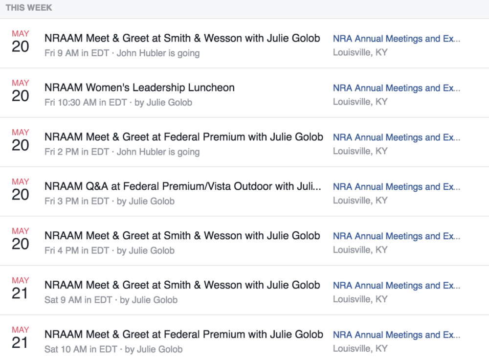 2016 NRAAM Julie Golob Schedule