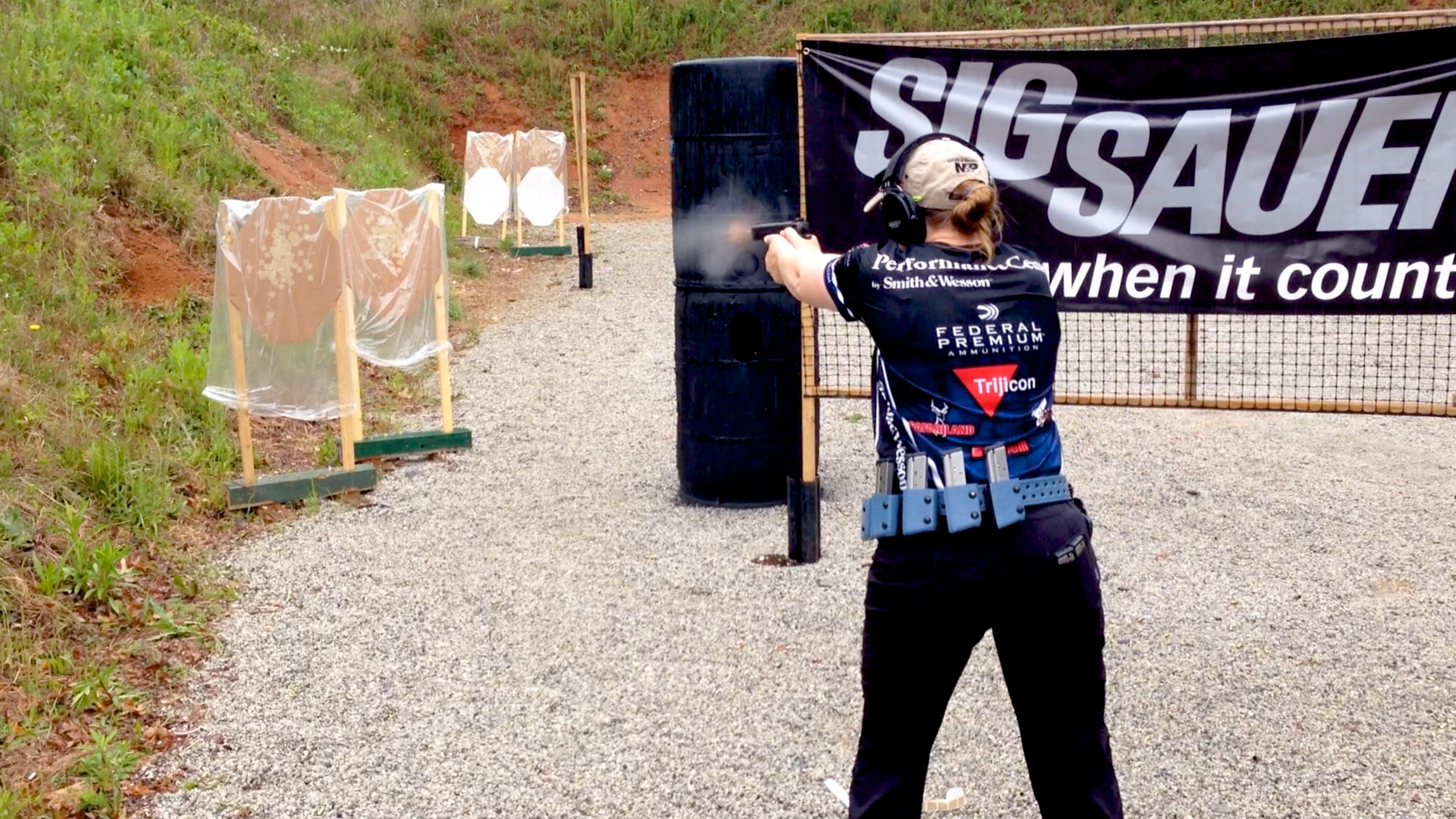 Julie Golob competing at the 2016 USPSA Area 6 Championships with her S&W Performance Center 9mm 1911