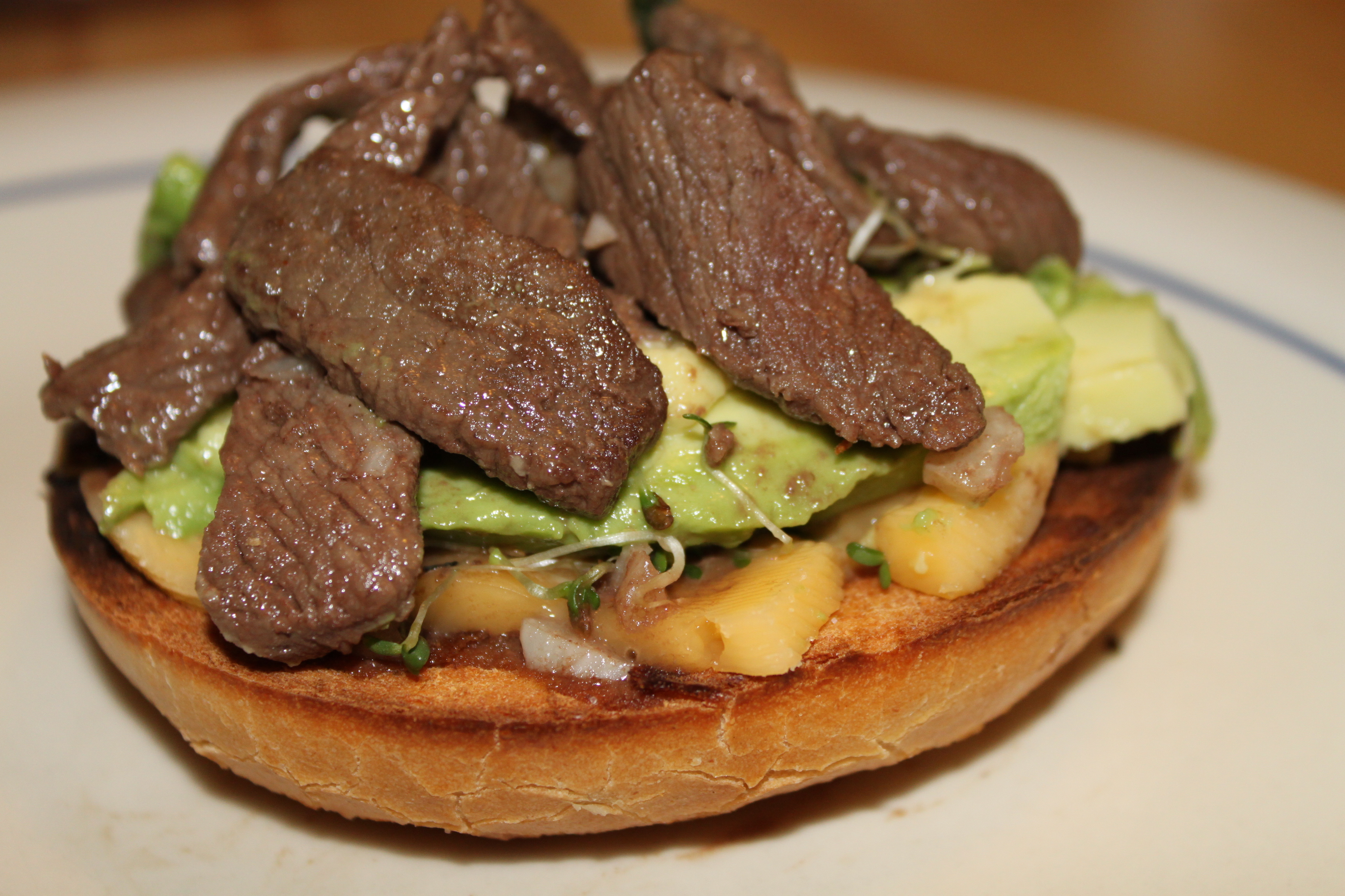 Open-Faced Bagel with Venison