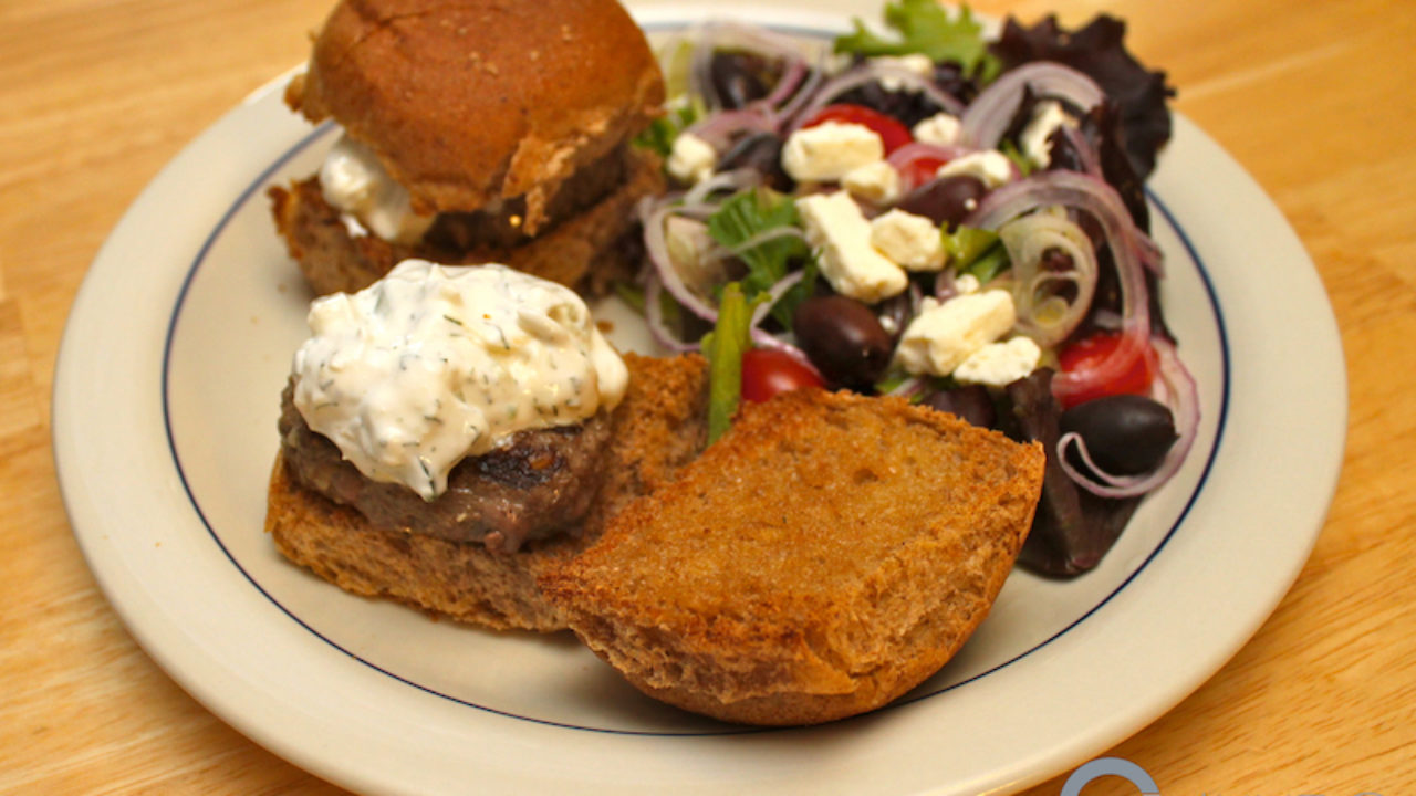Greek Venison Sliders with Salad
