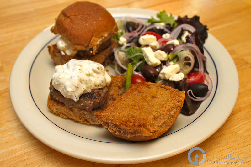 Greek Venison Sliders with Salad