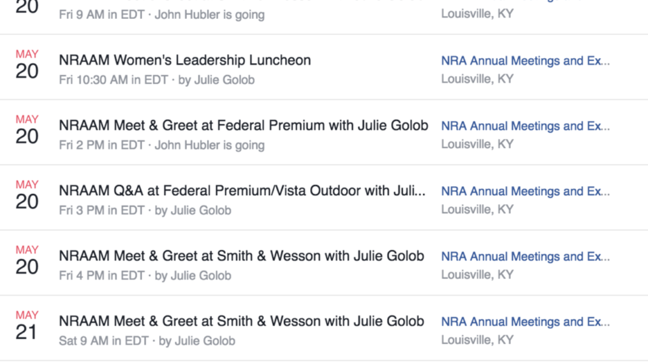 2016 NRAAM Julie Golob Schedule